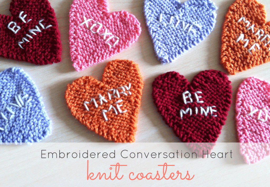embroidered conversation heart knit coasters just be crafty