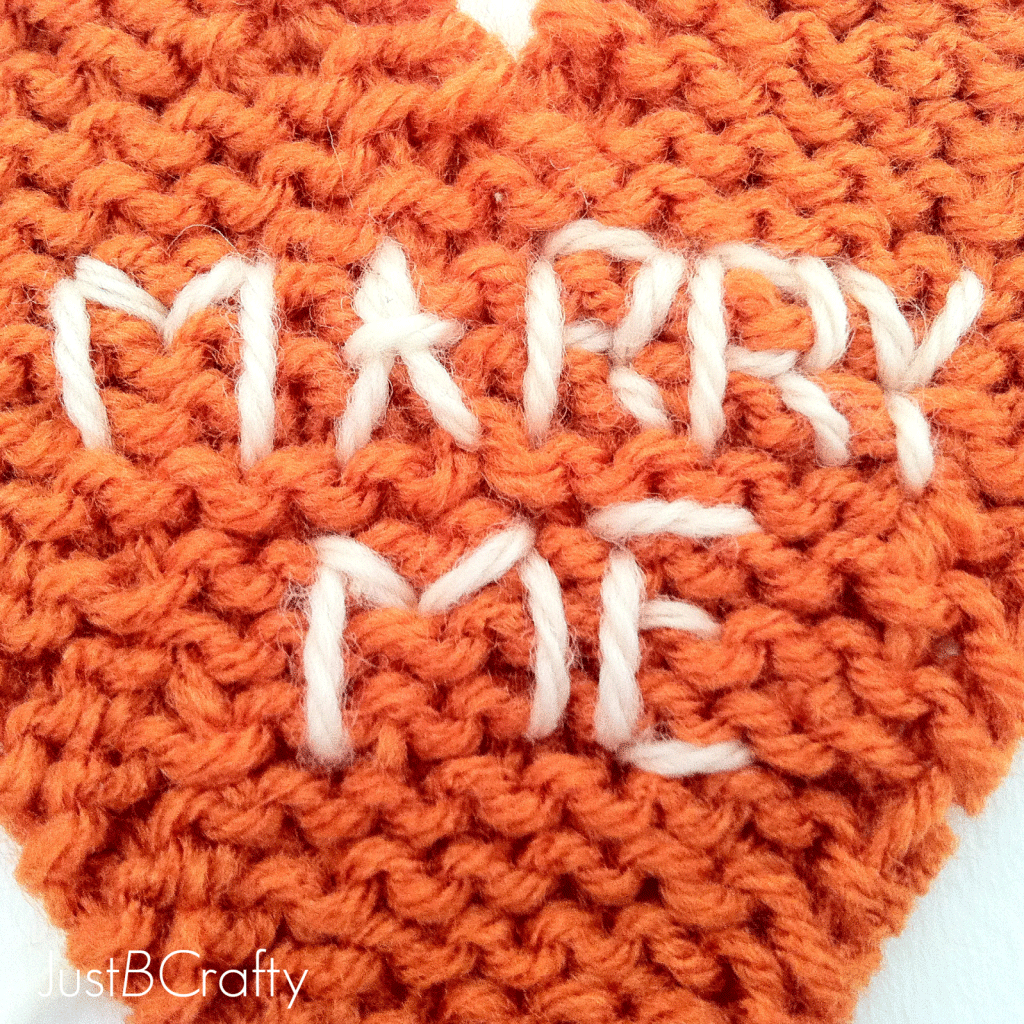Knitting Embroidery Letters : Embroidered conversation heart knit coasters just be crafty