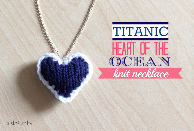 Titanic Inspired Heart of the Ocean Knit Necklace