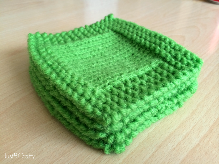 St. Patricks Day Knit Cocktail Coasters - Just Be Crafty