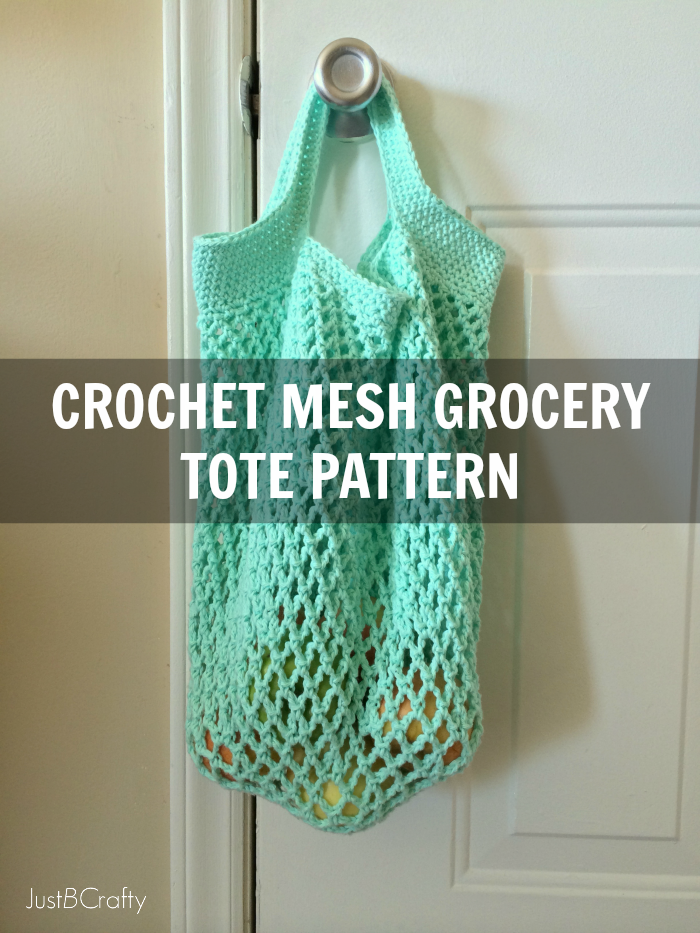 Crochet Patterns For Tote Bags : Crochet Mesh Grocery Tote Pattern - Just Be Crafty