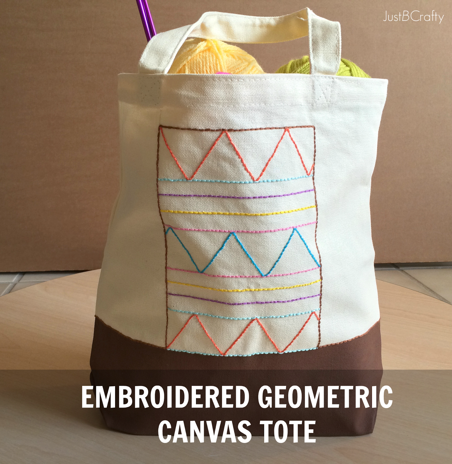 DIY: Embroidered Geometric Canvas Tote