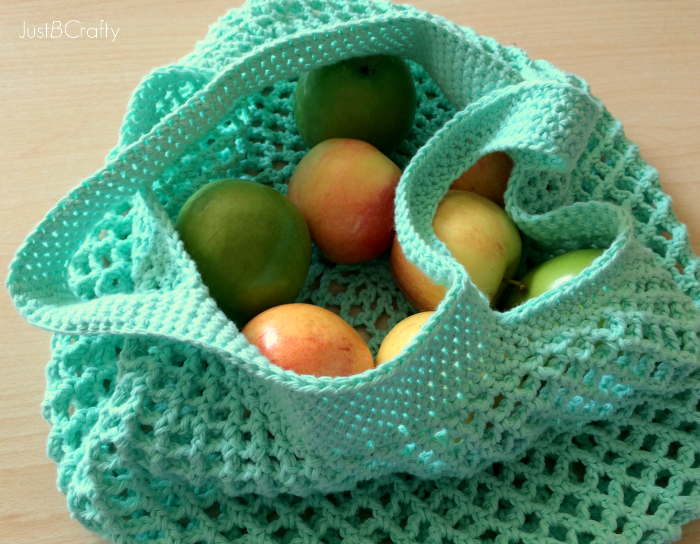 Crochet Grocery Bag Pattern : Crochet Mesh Grocery Tote Pattern - Just Be Crafty