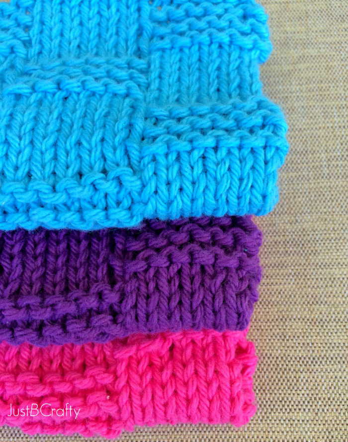 Basket Weave Dishcloth Pattern - Just Be Crafty