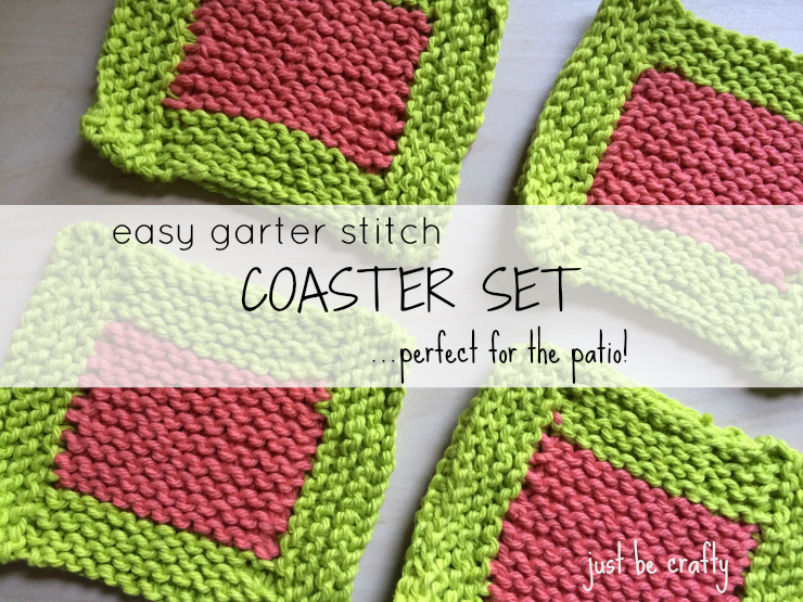 Easy Garter Stitch Coaster Set