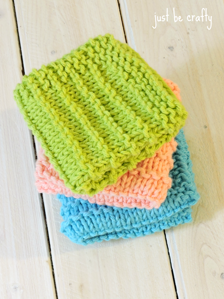 Free Knitting Patterns Dishcloths Alphabet : Farmhouse Kitchen Knitted Dishcloths - Just Be Crafty