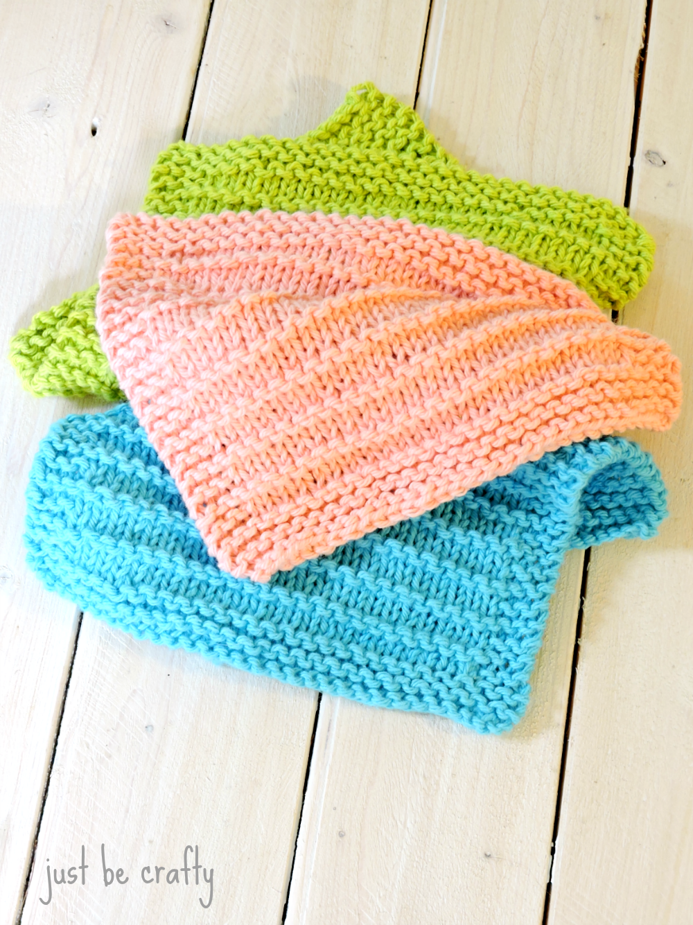 Knitting A Dishcloth Pattern Easy : Farmhouse Kitchen Knitted Dishcloths - Just Be Crafty