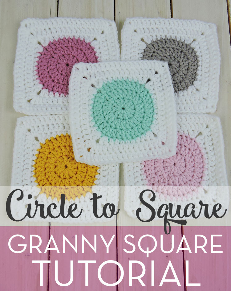 Circle to Square Granny Square Tutorial; Free pattern by Just Be Crafty!