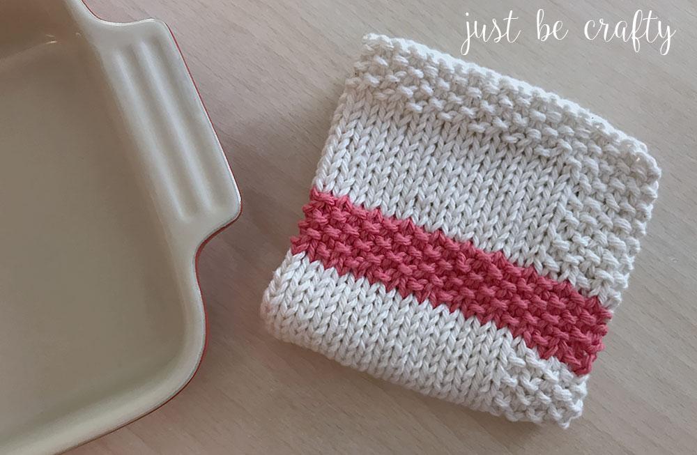 Seed Stitch Stripe Dishcloth Pattern
