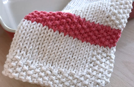 Seed Stitch Stripe Dishcloth Pattern