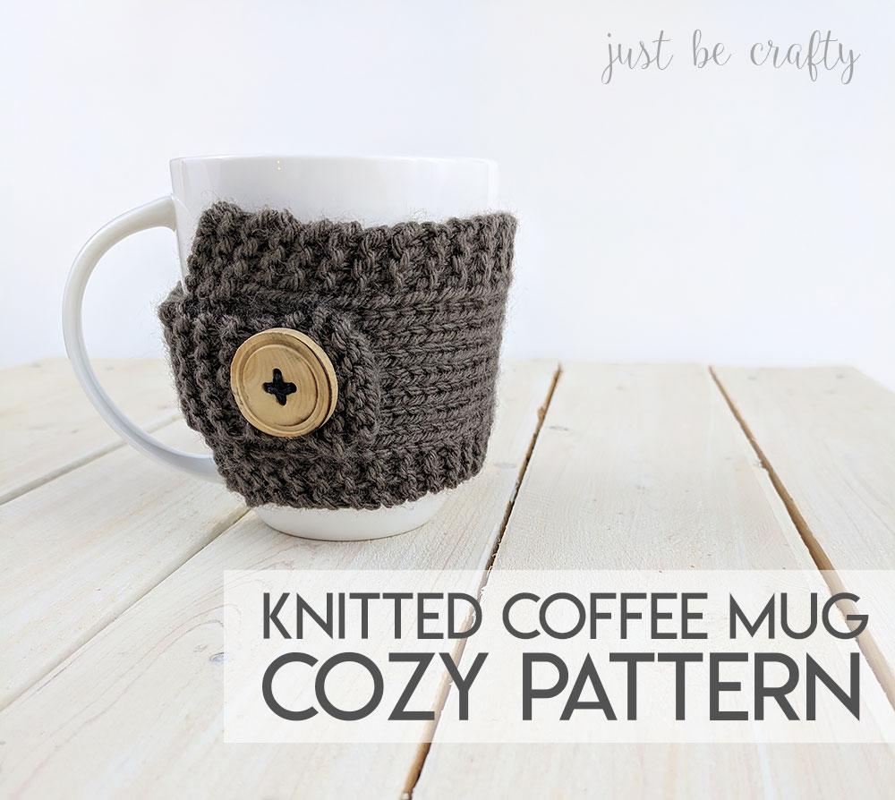 Knitted Coffee Mug Cozy Pattern - Free pattern by Just Be Crafty