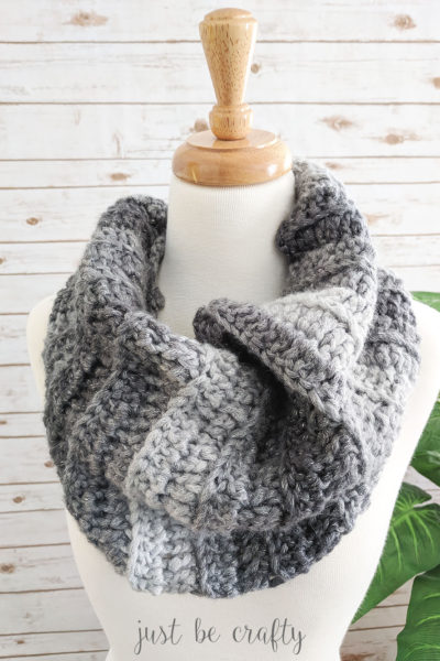 Stormy Night Crochet Ribbed Cowl Pattern