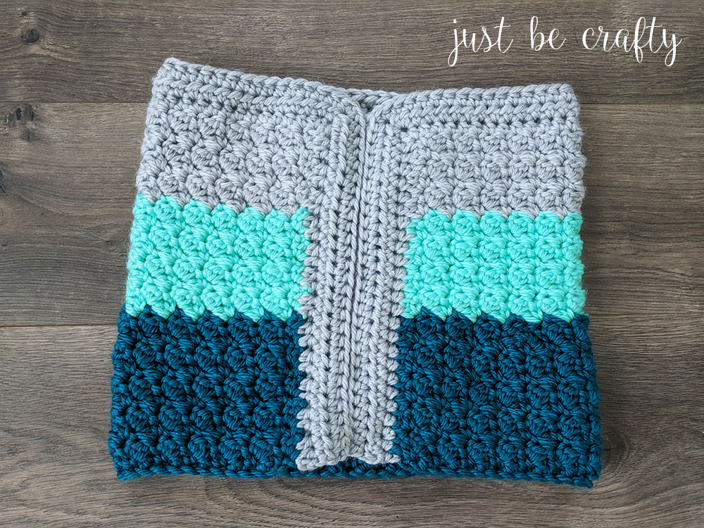 Mint Color Block Crochet Cowl