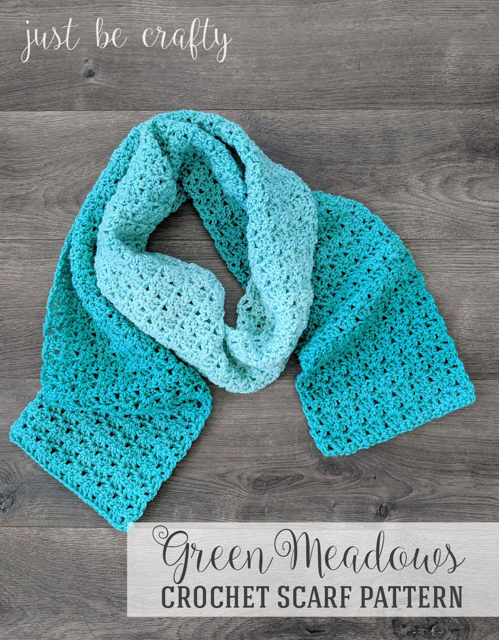 Green Meadows Crochet Scarf Pattern | Free Crochet Pattern by Just Be Crafty