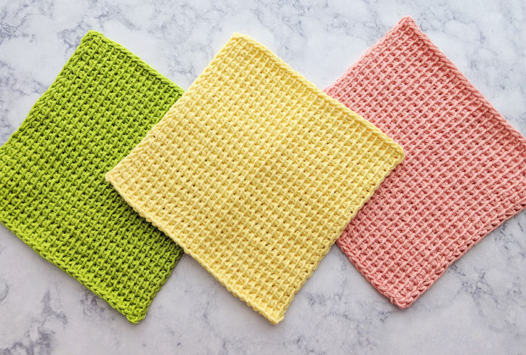 Tunisian Simple Stitch Dishcloths – Free Crochet Pattern and Video Tutorial