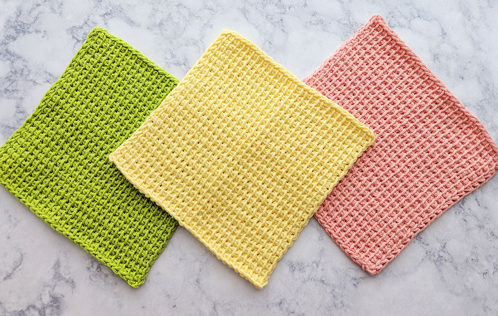 Tunisian Simple Stitch Dishcloth Free Pattern And Video Tutorial