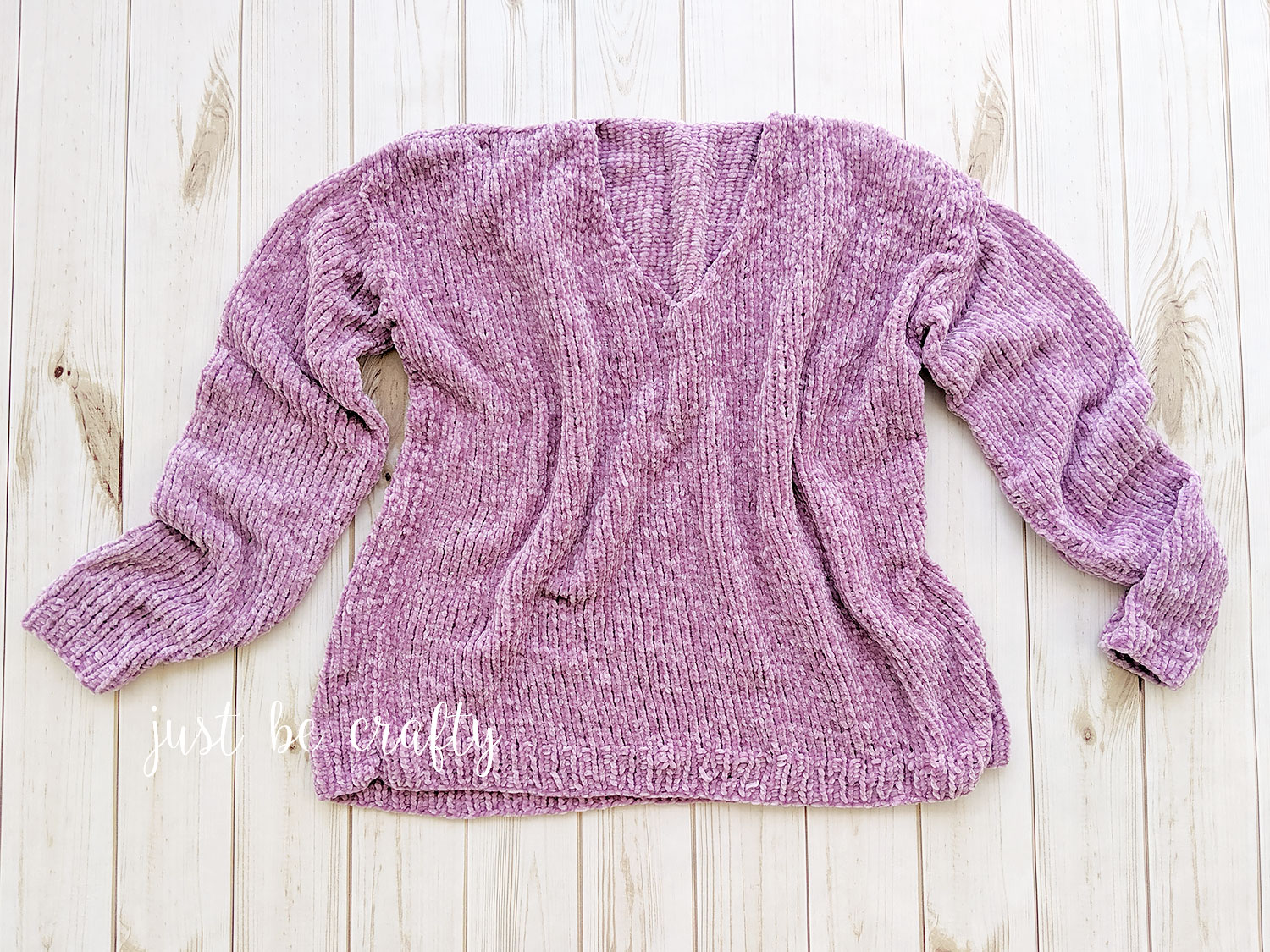 Velvet Slouchy V-Neck Knit Sweater