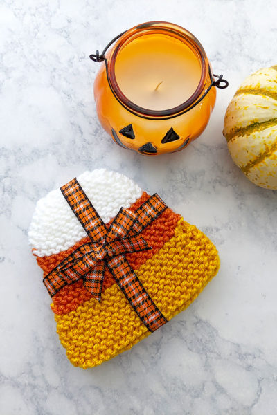 Candy Corn Knit Coasters Pattern and Video Tutorial