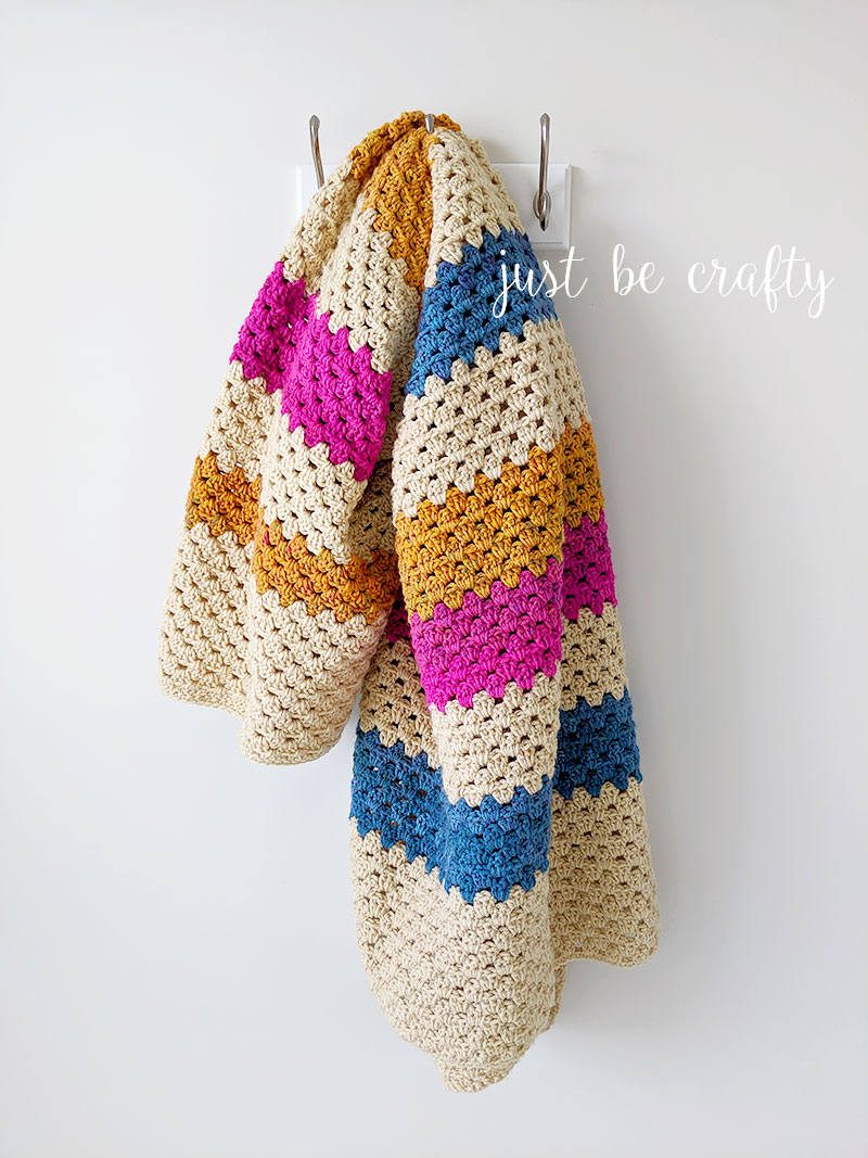 Stash Busting Granny Stripe Throw | Free crochet pattern by Just Be Crafty