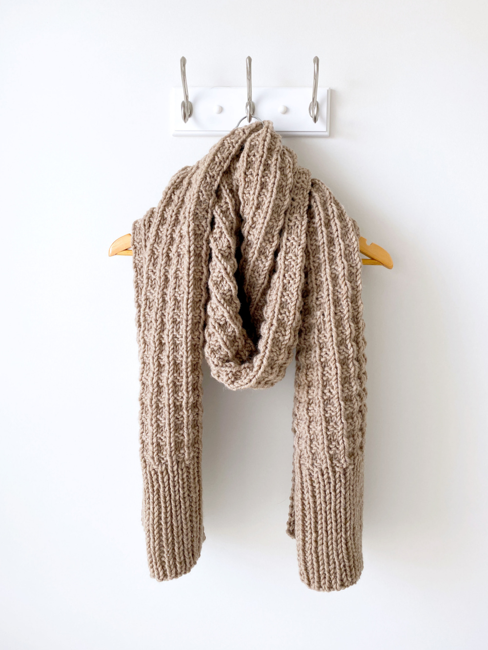weekend brunch scarf hanging on a hook